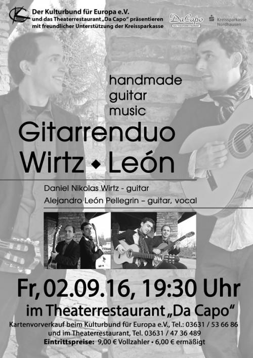 "Gitarrenduo Wirtz / Leon - handmade guitar music @ Theaterrestaurant ""Da Capo"" | Nordhausen | Thüringen | Deutschland"