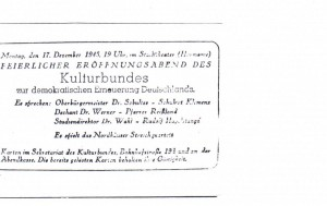Feierlicher Eröffnungsabend am 17.12.1945
